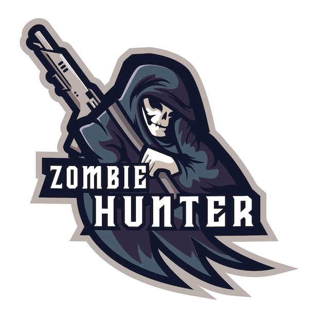Zombie hunter e sports logo Vecteur Premium