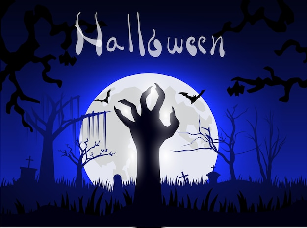 Zombie à la main d'haloween depuis le sol la nuit et la grande lune Vecteur Premium