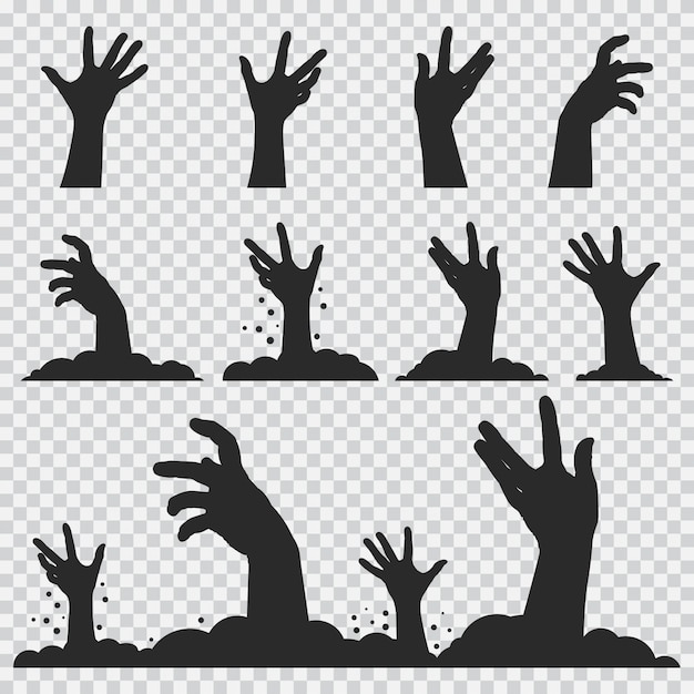 Zombie mains silhouette noire. halloween set d'icônes isolé Vecteur Premium