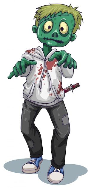 Un Zombie Mâle Effrayant Vecteur gratuit