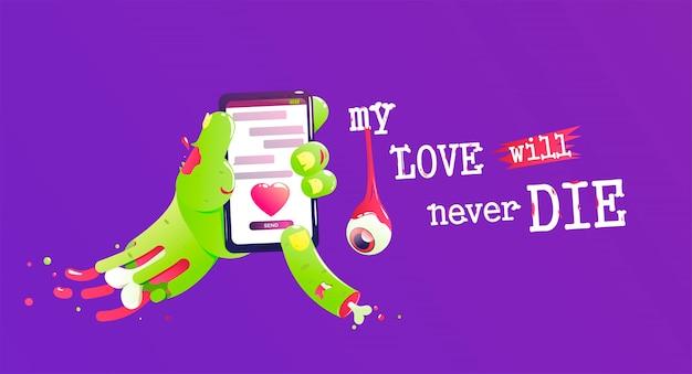 Zombie Avec Un Os Et Du Sang Envoyer Un Message D'amour Vecteur gratuit
