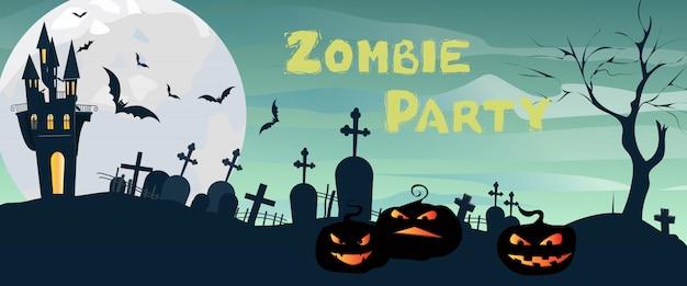Zombie party lettrage avec château, cimetière, lune et citrouilles Vecteur gratuit