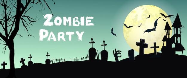 Zombie party lettrage avec cimetière, chauves-souris et lune Vecteur gratuit