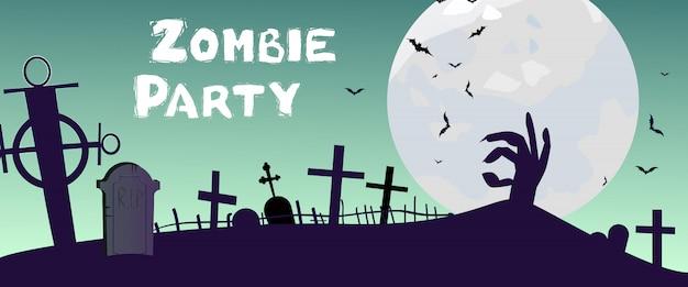Zombie party lettrage avec cimetière, main et lune Vecteur gratuit