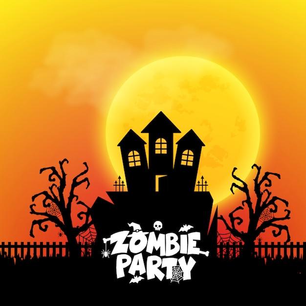 Zombie party typographie avec vecteur de conception créative Vecteur gratuit