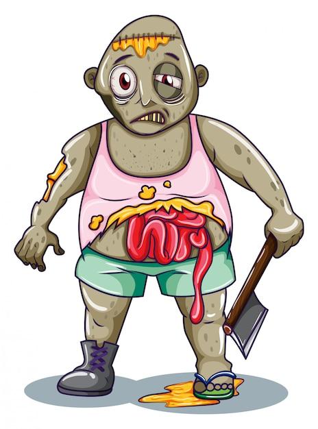 Un zombie tenant une arme tranchante Vecteur gratuit