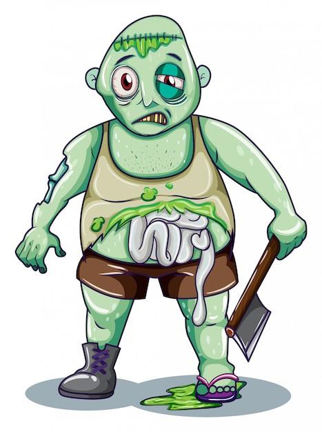 Un Zombie Tenant Une Hache Vecteur gratuit