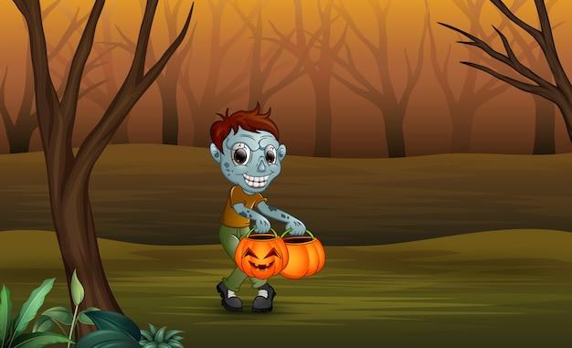 Zombies du dessin animé dans la forêt morte Vecteur Premium