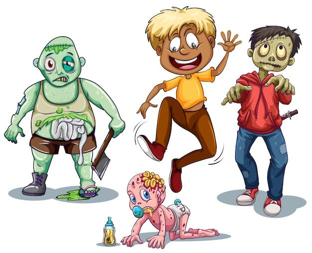 Zombies Et Homme Qui S'enfuit Vecteur gratuit