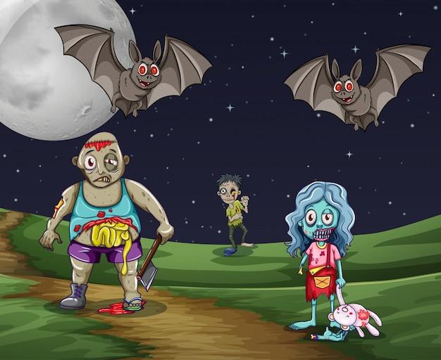 Zombies marchant sur le sol la nuit Vecteur gratuit