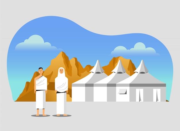 Zone de campement sous tente blanche du pèlerinage du pèlerinage Vecteur Premium