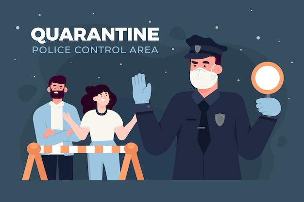 Zone De Contrôle De La Police De Quarantaine Vecteur gratuit