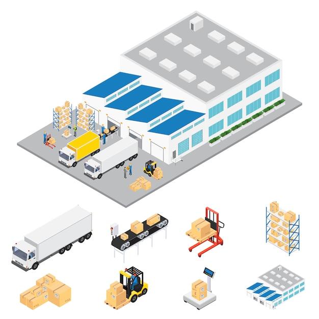 Zone Industrielle D & # 39; Entrepôt Isométrique Vecteur gratuit
