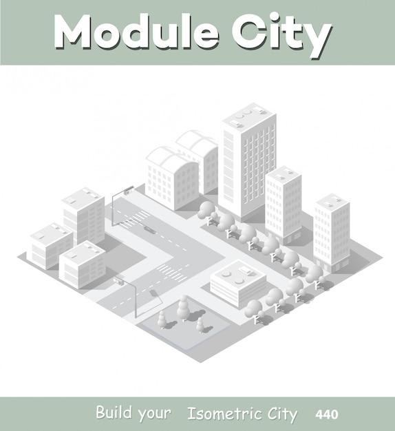 Zone de module isométrique au centre-ville Vecteur Premium