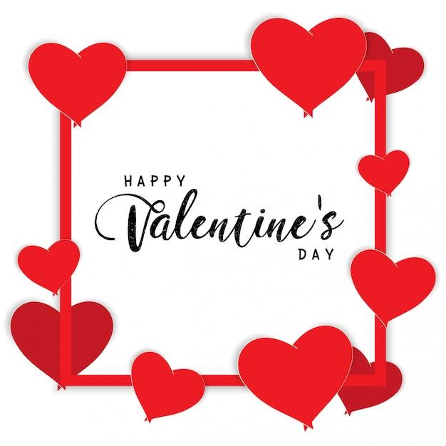 Zone de texte heureux saint valentin et désherbage des éléments de conception. fond illustration vectorielle blanc, coeurs rouges. Vecteur Premium