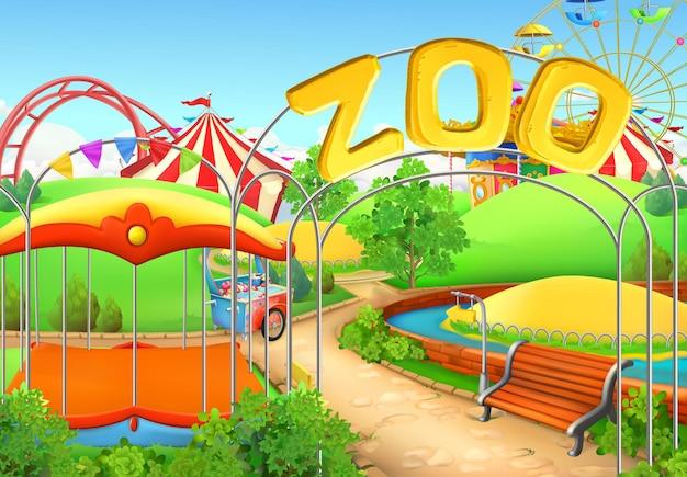 Zoo, Arrière-plan. Parc D'attractions. Aire De Jeux Pour Enfants Vecteur Premium