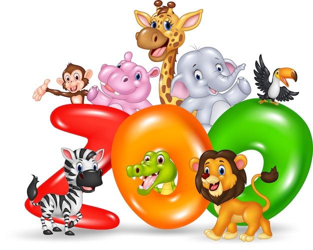 Zoo De Mot Avec Dessin Animé Afrique Des Animaux Sauvages Vecteur Premium