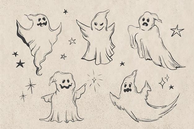 Zoom De Collection Fantôme Halloween Dessiné à La Main Vecteur gratuit
