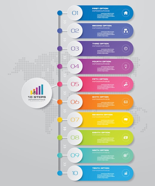 10 pasos de proceso de infografía elemento gráfico. Vector Premium
