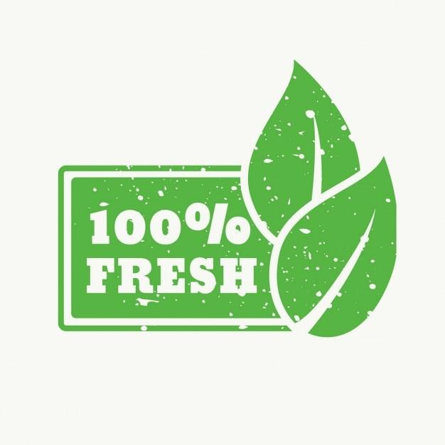 100 fresco, sello verde vector gratuito