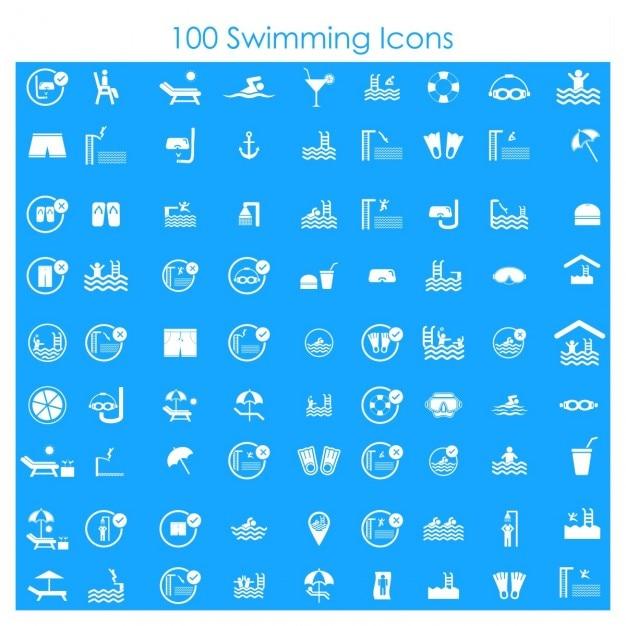 100 iconos de natación vector gratuito