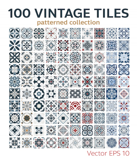 100 set patrones de azulejos vintage antiguo diseño sin costuras Vector Premium