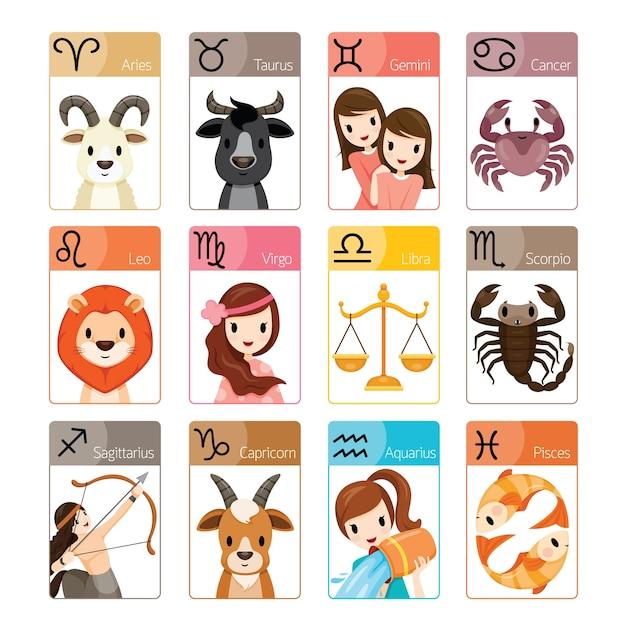 12 signos astrológicos del zodíaco Vector Premium