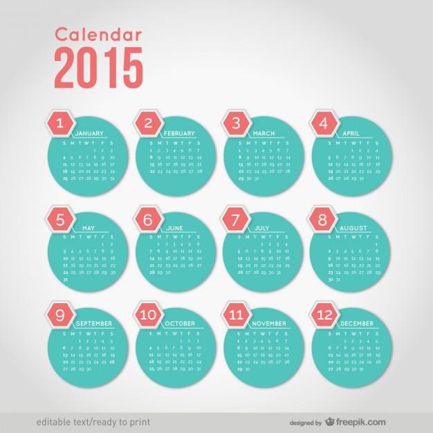 2015 calendario con formas minimalistas redondas vector gratuito