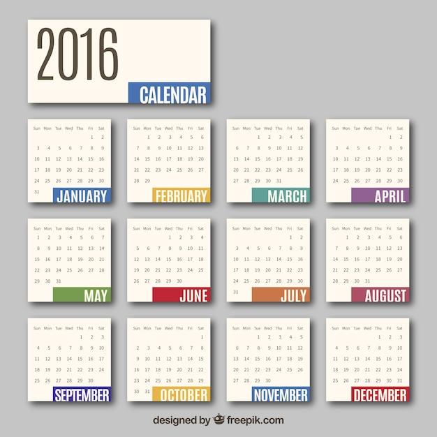 Horizontal Calendar Design : Calendario mensual descargar vectores gratis