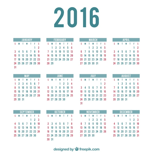 2016 Calendario Plantilla Descargar Vectores Gratis