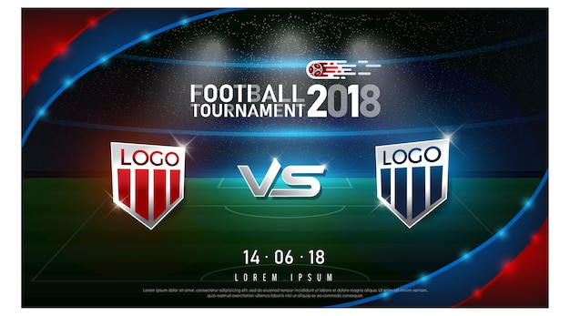 2018 campeonato mundial de fútbol bandera y estadio de fondo Vector Premium