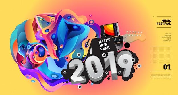 2019 año nuevo ilustración festival de música Vector Premium