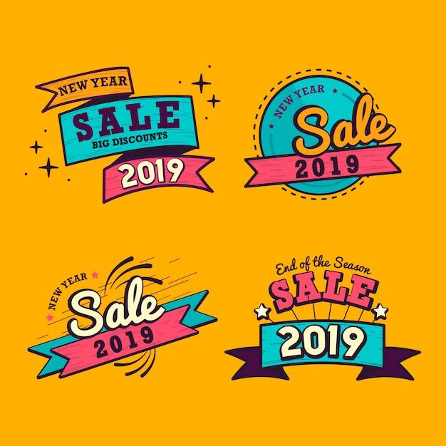 2019 año nuevo venta insignia vector set vector gratuito