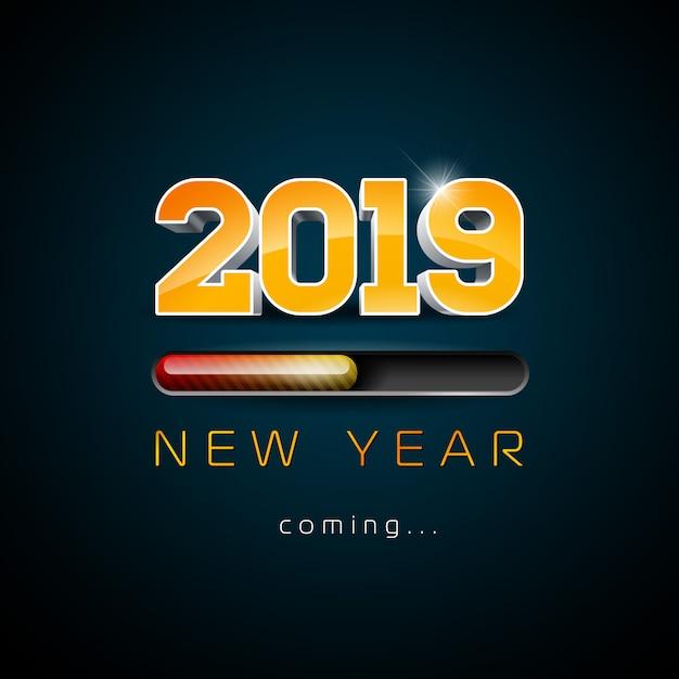 2019 año nuevo viene ilustración Vector Premium