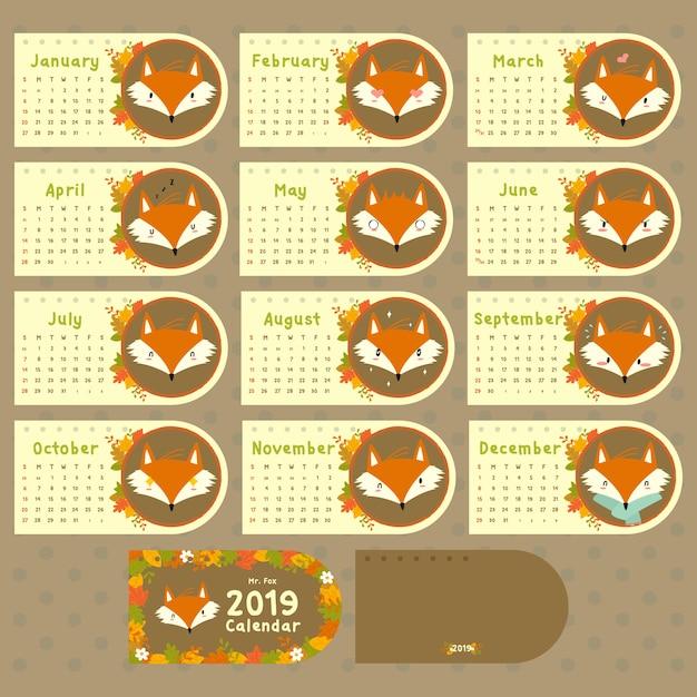Calendario Fox.2019 Calendario Autumn Fox Descargar Vectores Premium
