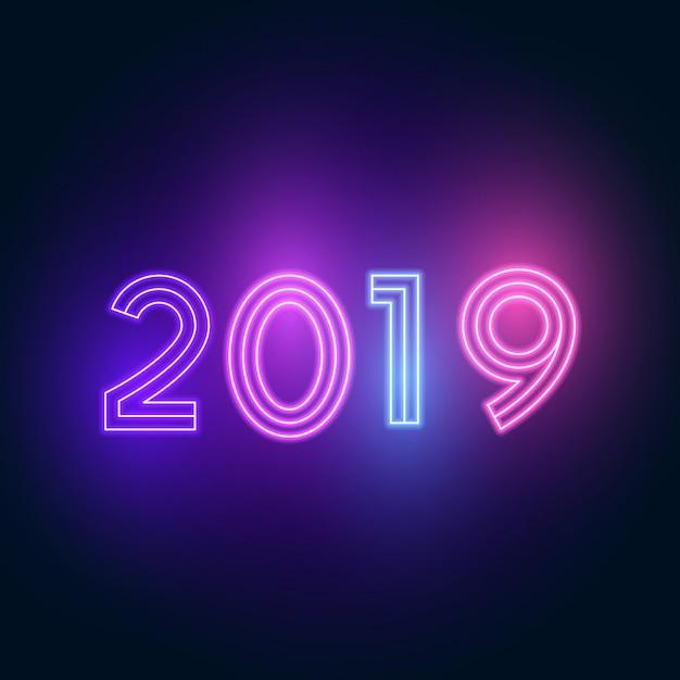 2019 feliz año nuevo. texto neón con iluminación brillante. Vector Premium
