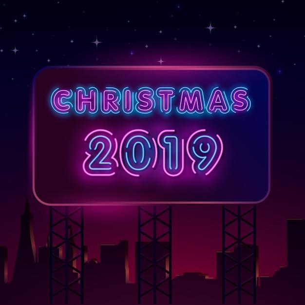 2019 Feliz Año Nuevo Texto De Neón Plantilla De Diseño De