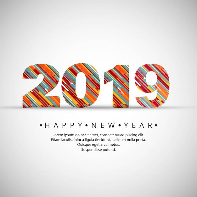 2019 feliz año nuevo texto vector de fondo vector gratuito