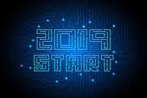 2019 inicio en el diseño de fondo de tecnología de circuito Vector Premium