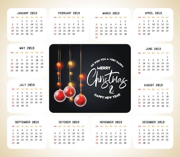 2019 vector de diseño de calendario de navidad Vector Premium