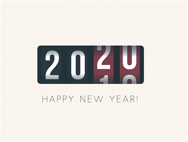 2020 año nuevo. mostrador analógico, diseño de estilo retro. ilustración vectorial Vector Premium