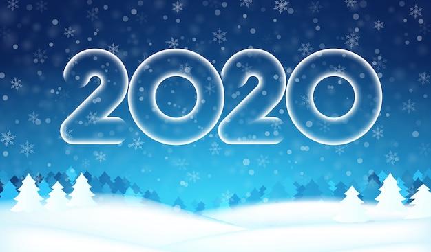 2020 año nuevo número texto banner, bosque de árboles de invierno, cielo azul, copos de nieve, fondo de nieve. Vector Premium