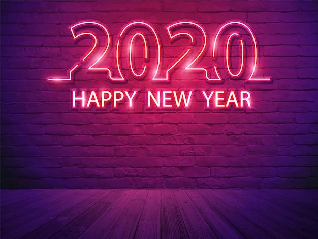 2020 feliz año nuevo con alfabeto de luz de neón sobre fondo de habitación de pared de ladrillo Vector Premium