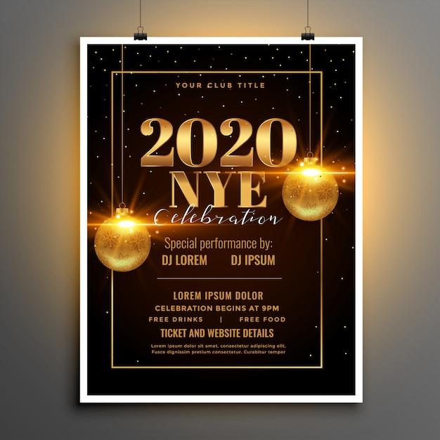 2020 feliz año nuevo fiesta flyer o plantilla de póster vector gratuito