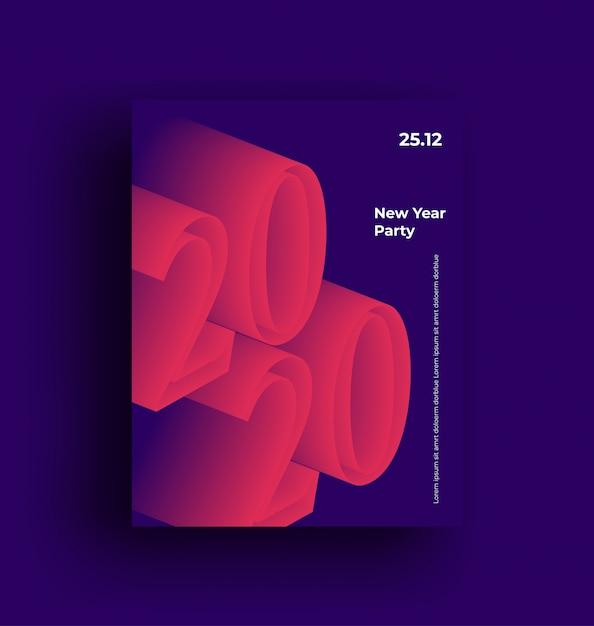 2020 feliz año nuevo fiesta minimalista moderno cartel publicitario Vector Premium