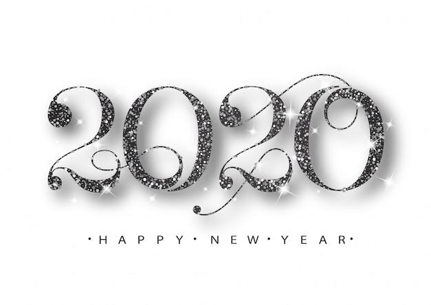 2020 feliz año nuevo. números negros de tarjeta de felicitación. patrón brillante negro. feliz año nuevo banner con números 2020. Vector Premium