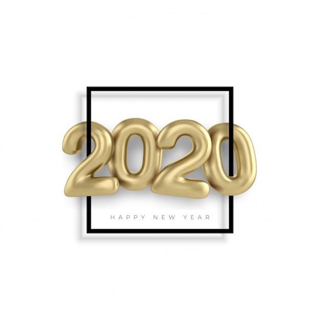 2020 feliz año nuevo oro 3d canta números Vector Premium