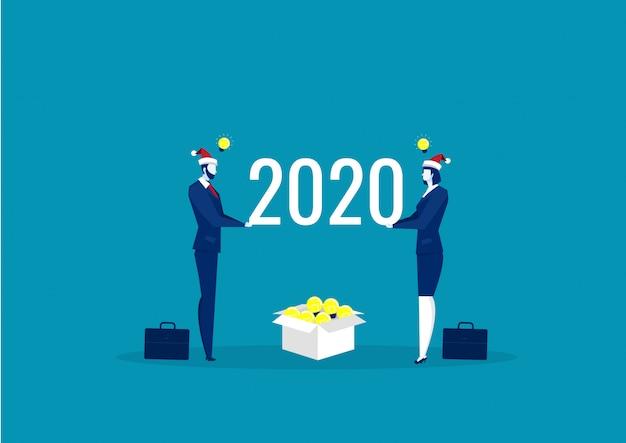 2020 idea de negocio para invertir. feliz año nuevo vector Vector Premium
