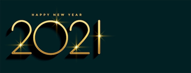 2021 banner dorado feliz año nuevo con espacio de texto vector gratuito