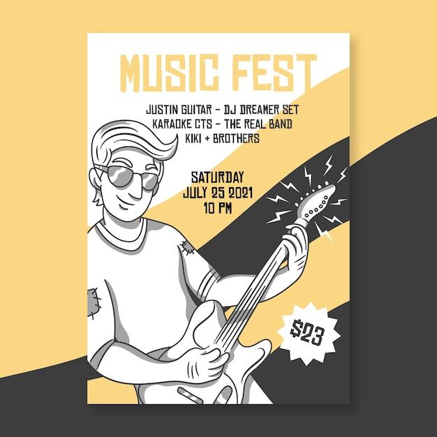 2021 cartel ilustrado del festival de música vector gratuito